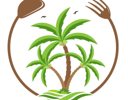 Logo of palm trees surrounded by a curved spoon and fork