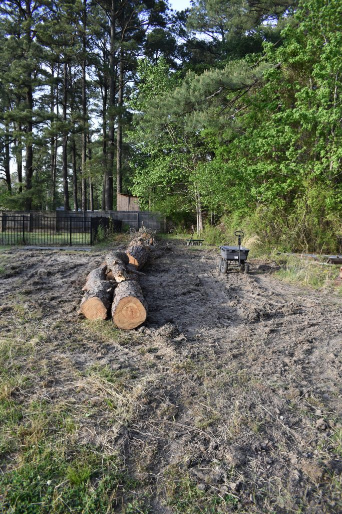 Long trail of logs that will be the base of a berm